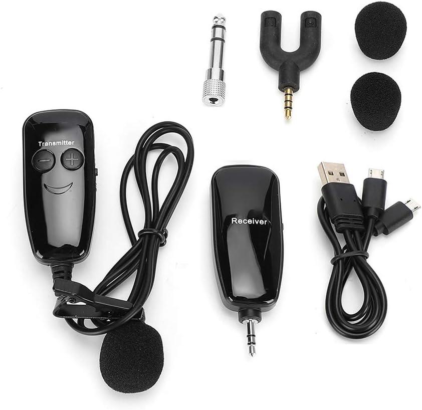 Amplificador de voz de micrófono de clip inalámbrico UHF, micrófono receptor de transmisor de solapa, micrófono capacitivo portátil con reducción de ruido(Micrófono)