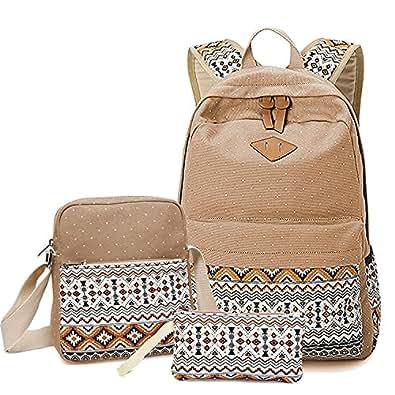 Vincico Canvas Dot Cute Lightweight Backpacks School Shoulder Bags (Khaki)
