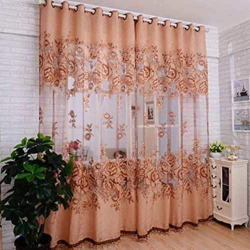 1Pc Floral Door Window Voile Tulle Valance Curtain (Coffee) - 4