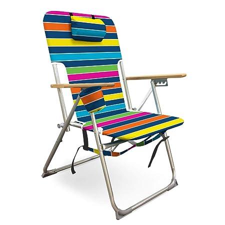Caribbean Joe CJ-7779RBST High Weight Capacity Deluxe Beach Chair, Navy