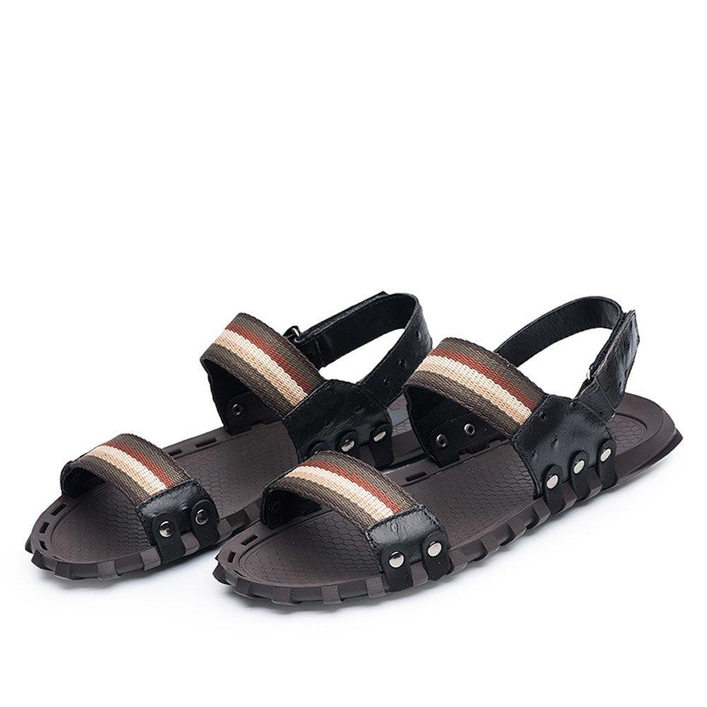 2018 Sandalen Männer echte Rindsleder Strand Hausschuhe Casual keine Handarbeit rutschfeste Sandalen Schuhe keine Casual Kleber (Farbe : Braun, Größe : 40 EU) schwarz 2ab337