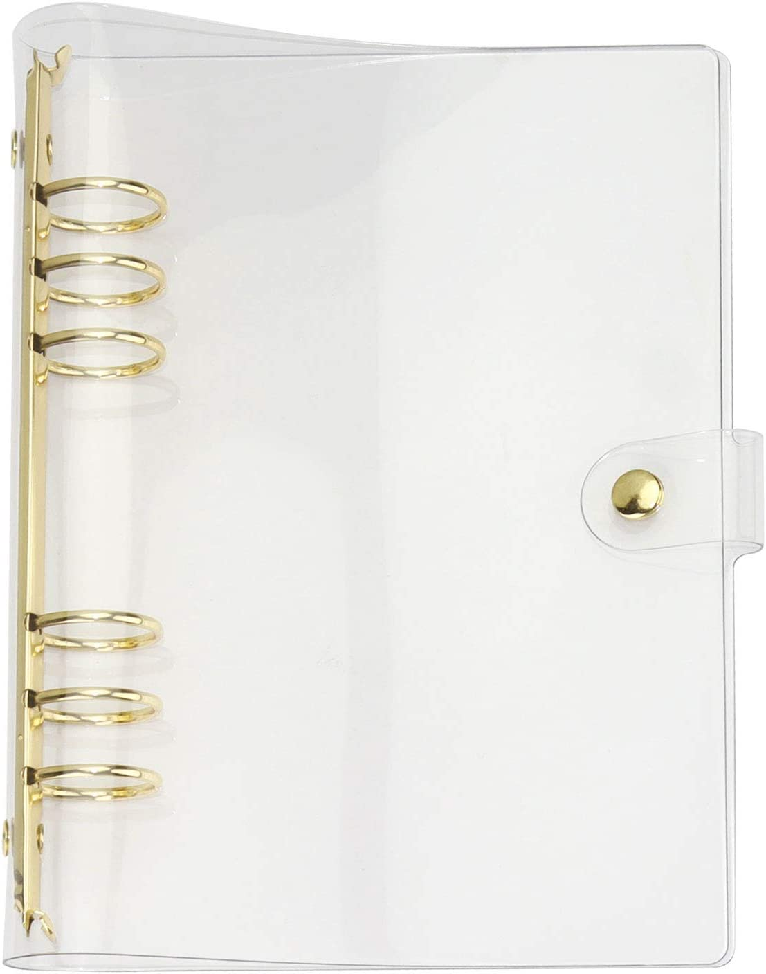 MultiBey A5 Clear Notebook Cover Soft PVC Binder Cover with 6 Extra Large Round Rings 30mm Loose Leaf Journal Personal Dairy Transparent PVC Planner Office School Home Writing Supplies (Gold, A5)