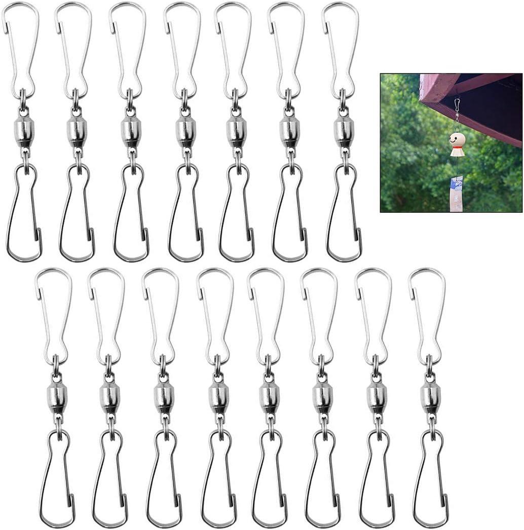 iwobi 15 Clips Giratorios Doble para Colgar molinillos de Viento, esculturas de Viento, campanillas de Viento, comederos de pájaros, Cometas, Banderas