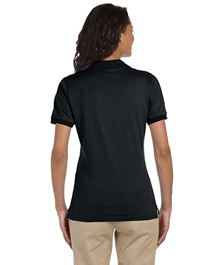 2d397e22 Jerzees Ladies 5.6 Oz, 50/50 Jersey Polo With SpotShield, Small, Black