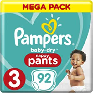 Pampers Baby-Dry Nappy Pants Size 3 Crawler, 92 Nappy Pants, 6 to 11 kg, Easy On