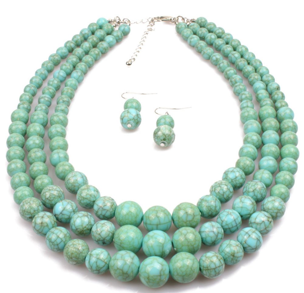 Shineland Elegant Multilayer Strands Crack Turquoise Stone-simulated Pearl Beads Necklace Earrings Set (Style # 1)