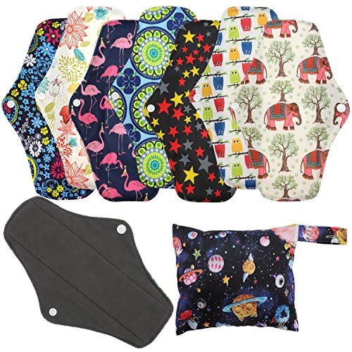 Reusable Menstrual Pads (7 in 1, 10in*7in), PHOGARY Bamboo Cloth Pads for Heavy Flow with Wet Bag, Large Sanitary Pads…