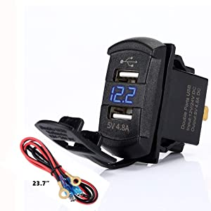 4.8 Amps Dual USB Rocker Style Charger w/Blue Voltmeter for Boats, Polaris RZR 900, RZR 1000, Ranger, Mobile Home, RV, Can Am Spyders, Can Am Maverick, Can AM SxS, Golf Cart (4.8A Blue)