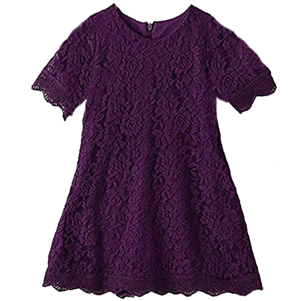 Girls Dress Kids Flower Lace Party Wedding Short-Sleeve Dresses for 1-16 Years