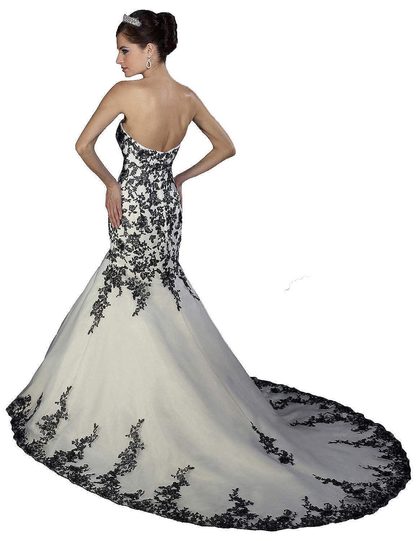 JoyVany Lace Applique Black and White Wedding Dress Tulle Long Bridal Ball Gowns JV425 LFJV425-$P