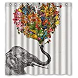 "POOKOO ""Newspaper Elephant Aztec Floral"" Personalized Custom 66"" x 72"" Waterproof Polyester Fabric Shower Curtain"