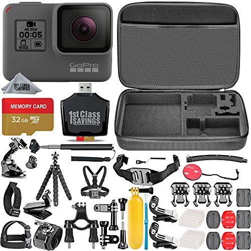 GoPro HERO5 Black + 32GB Memory Card + Hard Case + Card Reader + Chest Strap Mount + Head Strap Mount + Flexible Tripod + Extendable Monopod + Floating Handle + Hero 5 Best Value Bundle by 1stClassSavings