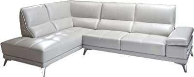 American Eagle Furniture EK-L692L-LG Leesburg Collection Top-Grain Italian Leather Sectional Sofa with Adjustable Armrests, Light Gray