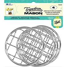 Loew-Cornell Transform Mason Ball Lid Inserts 4/Pkg, Silver Frog - Wide Mouth