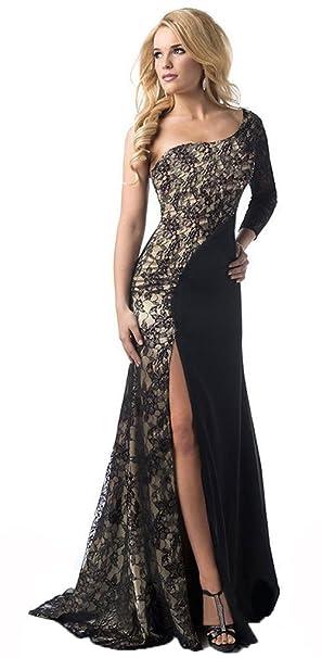 I-CURVES elegante abito da sera nero oro con spacco laterale diviso in due ce8c9766cea