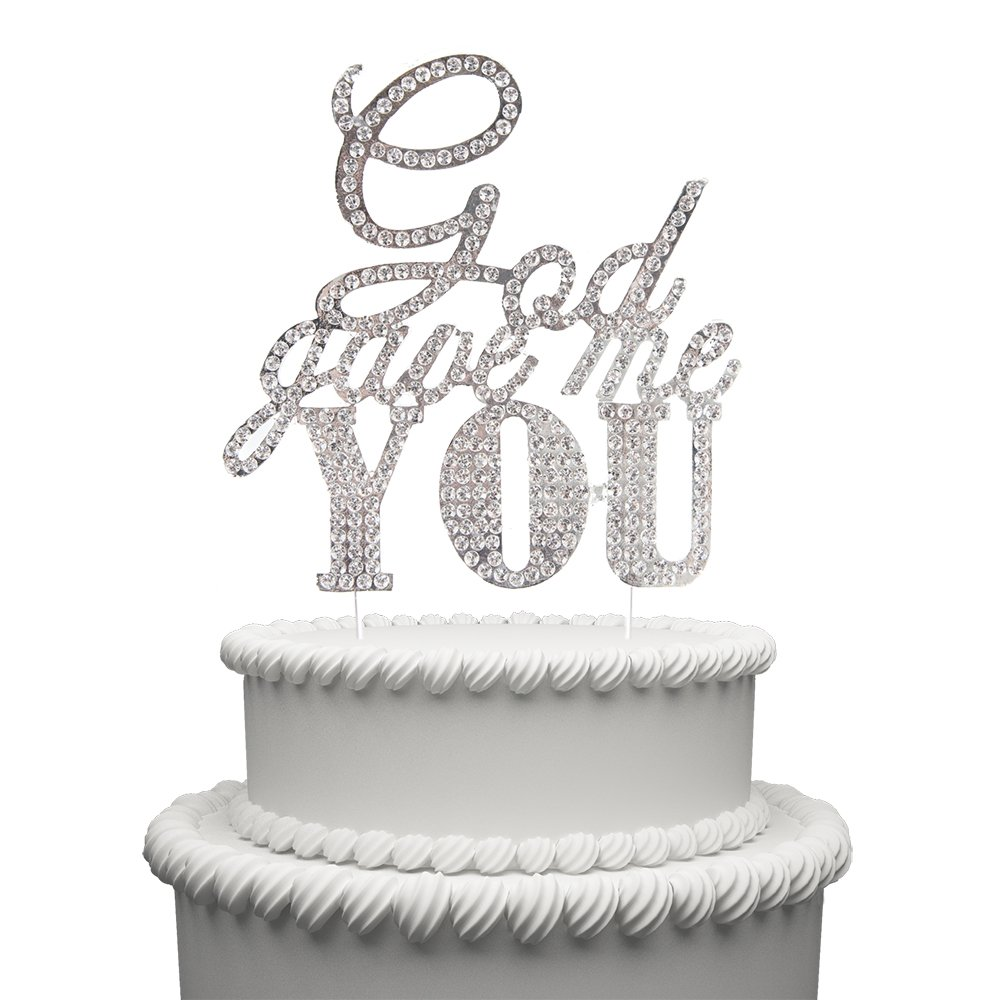 God Gave Me You Wedding Cake Topper Silver Crystal Rhinestone Cake Toppers Party Decoration for Wedding & Engagement