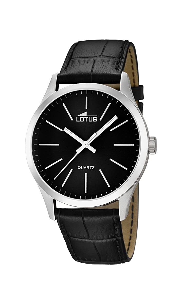 Amazon.com: Lotus Mens Quartz Watch with Black Dial Analogue Display and Black Leather Strap 15961/3: Watches