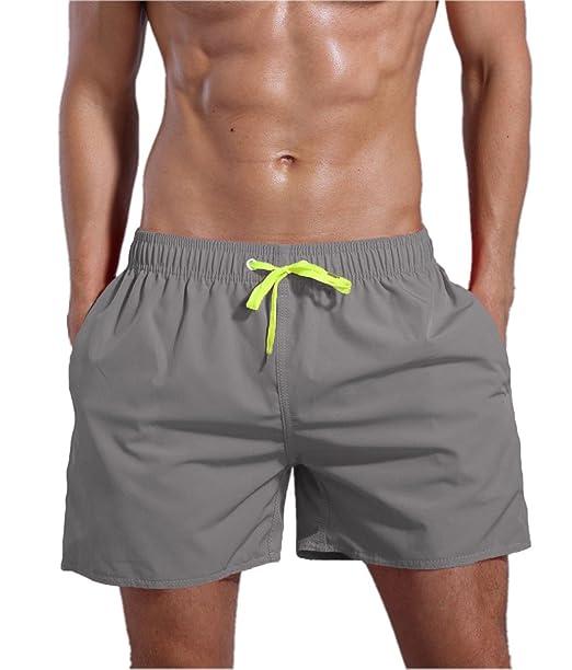 72c687ed9f QRANSS Men's Quick Dry Swim Trunks Bathing Suit Beach Shorts (Light Grey, X-