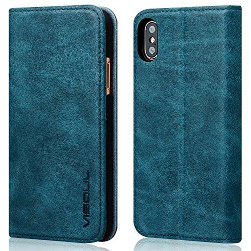 VISOUL アイフォンXSケース 手帳型 本革 iPhone XSケース iphoneX ケース フィルム付き カード収納 携帯ケース レザーケース 携帯カバー スマホケース スタンド機能 横置きスタンド 財布型 (紺色)