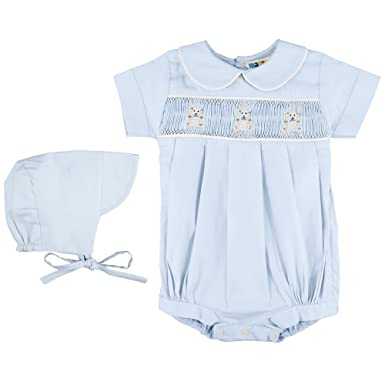 6a9ea1880 Mafana Kids Boys Cotton Romper and Bonnet Set With Smocked and Embroidered  Panel To Front Of Romper (6-9 Months, Blue With Teddies): Amazon.co.uk:  Clothing