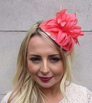 Starcrossed Boutique Coral Pink Gold Feather Fascinator Races Wedding  Headband Hair Hat Flower 3575  Amazon.co.uk  Beauty 62cd4be45f5