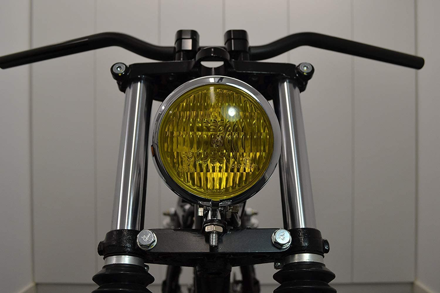 4.75 120mm Chrome on Metal Headlight with Yellow Lense ideal for Retro look Chopper Cafe Racer Motorcycle Motorbike