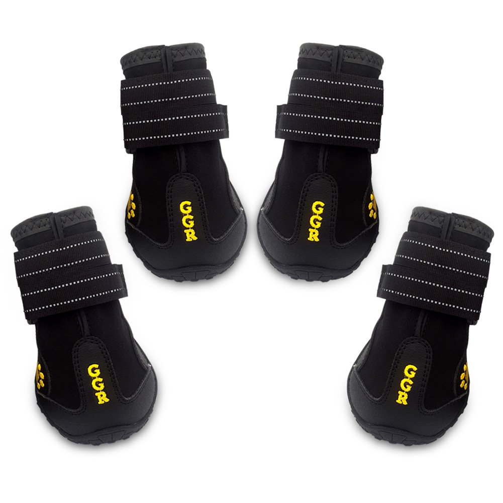 Union Rich Pet Boots 4 Pcs Outdoor Waterproof Wearproof Running Shoes Dogs Pet Rain Boots (6#(2.9''X2.5''), Black)