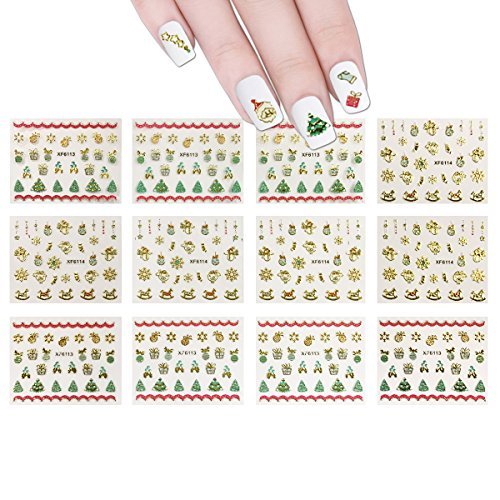 ALLYDREW 1200+ Festive Holiday Nail Stickers Christmas Nail Art Stickers (50 sheets)]()