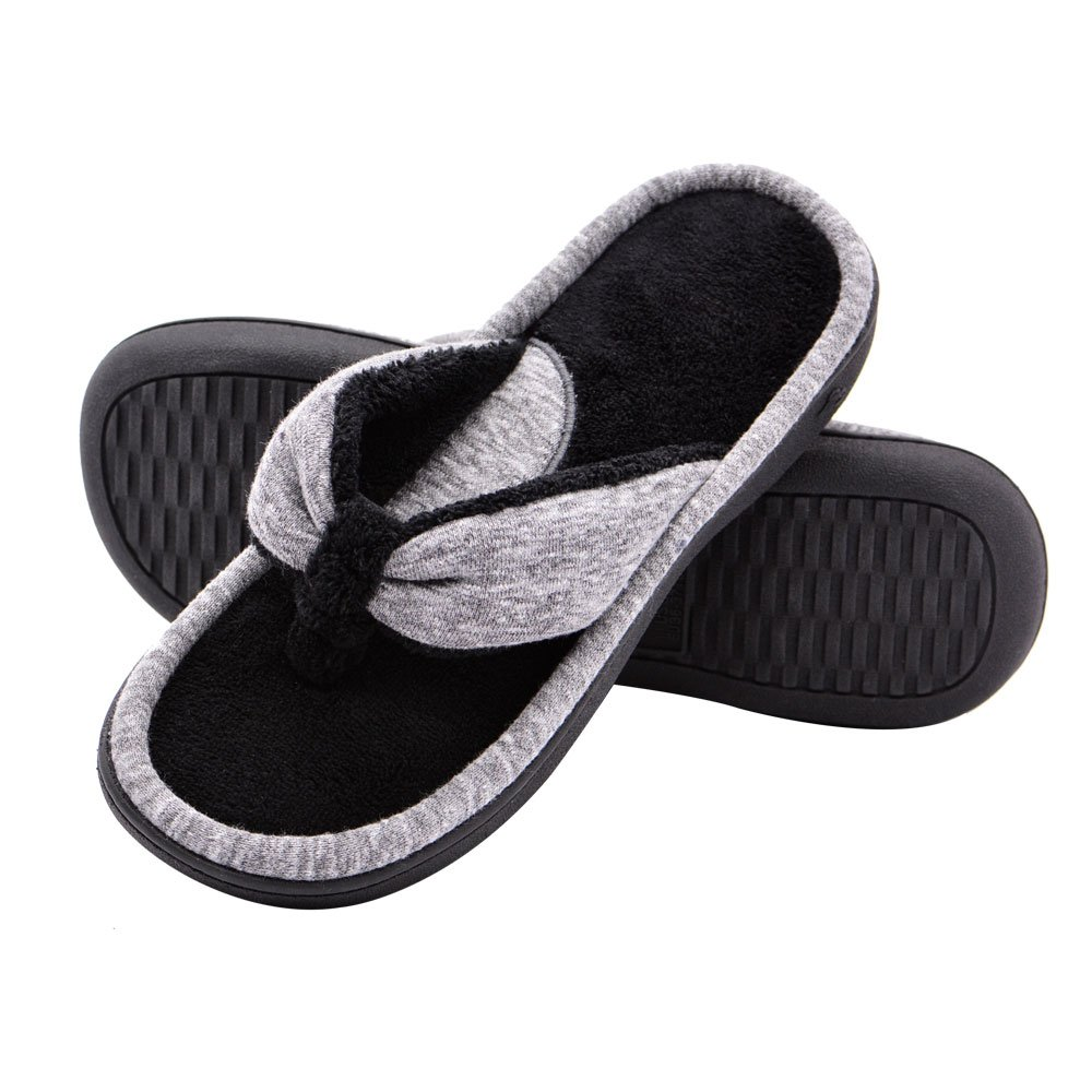 Wishcotton Women's Adjustable Memory Foam Spa Thong House Shoes Fluffy Flip Flop Slippers (L, Grey)