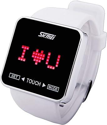 Reloj de pulsera digital con pantalla táctil resistente al agua para niños y niñas, color blanco: Amazon.es: Relojes