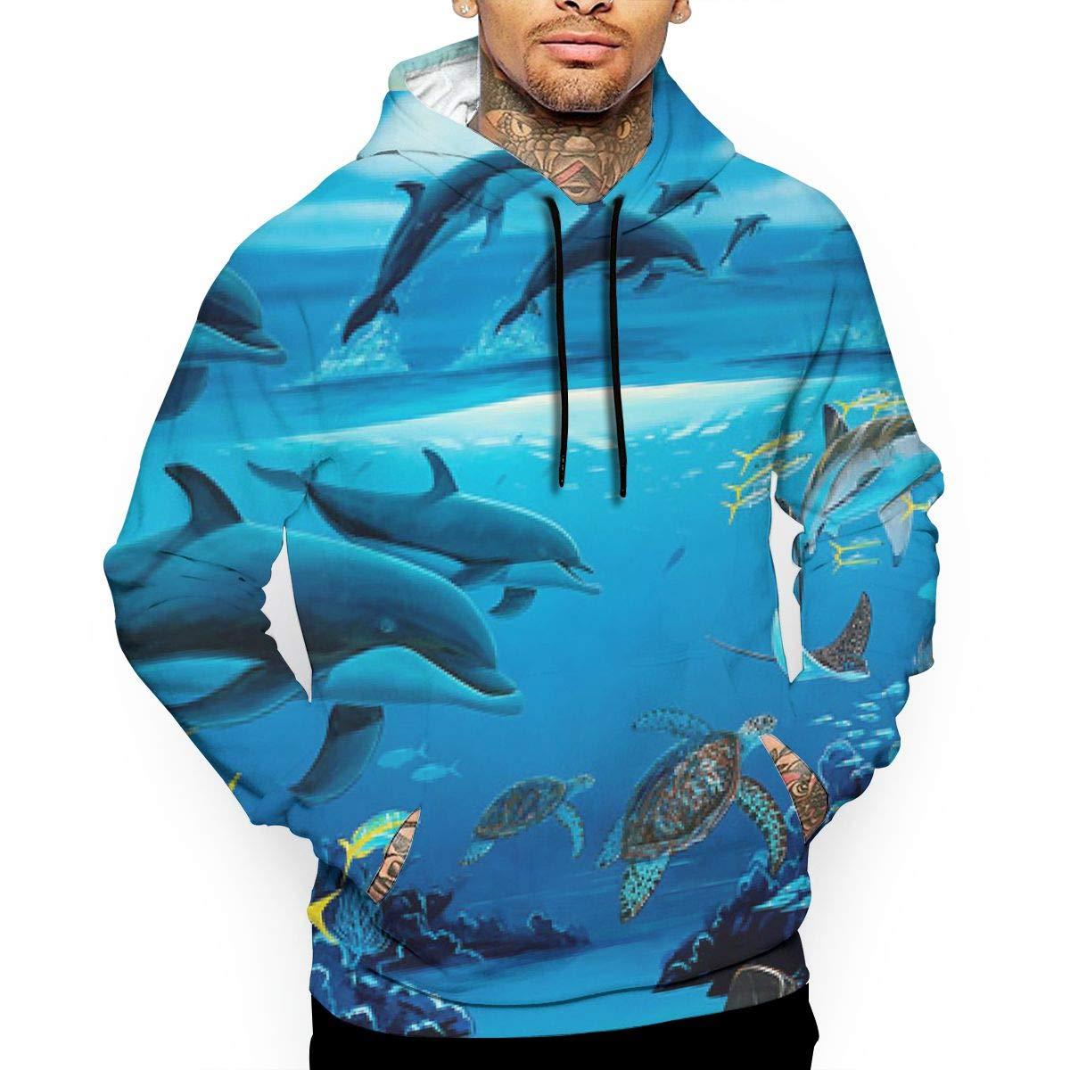 Dolphin and Sea Animals Mans Long Sleeve Hoodie Casual Pocket Hooded Sweatshirt