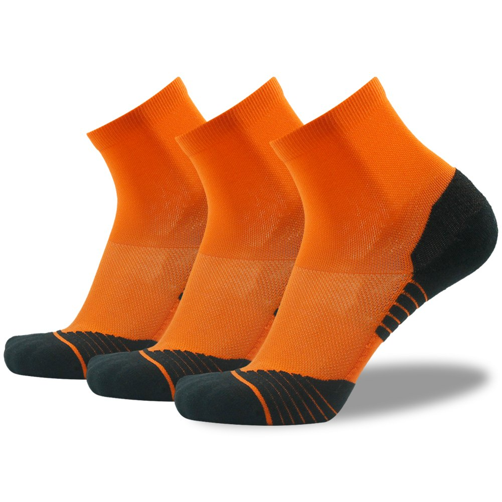 Running Socks for Men HUSO Stretchy Plantar Fasciitis Arch Support Ankle Compression Socks 3 Pairs, Orange
