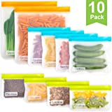 Reusable Storage Bags - 10 Pack BPA Free Freezer Bags(2 Reusable Gallon Bags + 4 Leakproof Reusable Sandwich Bags + 4 Thick Reusable Snack Bags) Ziplock Lunch Bags for Food Marinate Meat Fruit Cereal