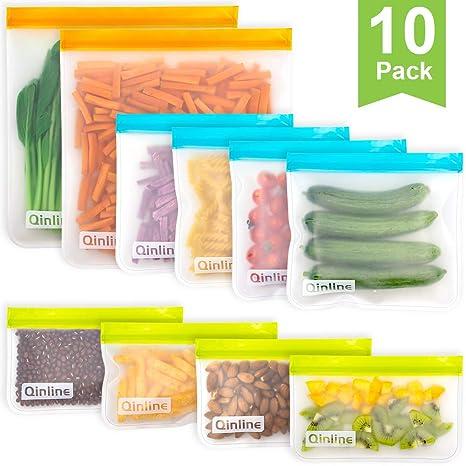 Amazon.com: Bolsas de almacenamiento reutilizables, 10 ...