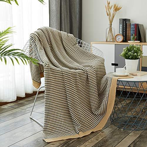 Shangxiangtrade 無地のソファーの余暇を昼寝する綿のニットのオフィス (Color : Khaki, サイズ : 130*170cm) B07T41P3Z6 Khaki 130*170cm
