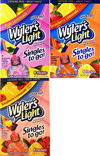 Wylers Light Singles To Go Drink Mix, Pink Lemonade, Strawberry Lemonade & Raspberry Lemonade Variety Combo (Pack of 6)