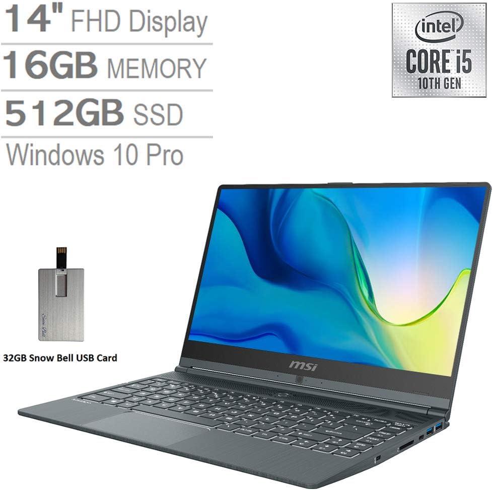 """2020 MSI Modern 14"""" FHD Laptop Computer, 10th Gen Intel Core i5-10210U, 16GB RAM, 512GB PCIe SSD, Intel UHD Graphics, Backlit Keyboard, HD Webcam, USB-C, Win 10 Pro, Gray, 32GB Snow Bell USB Card"""