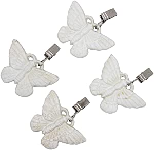 Funerom (Set of 4) Vintage Butterfly Tablecloth Weights with Metal Table Clip Clamps for Outdoor Garden Party Picnic Table Covers White