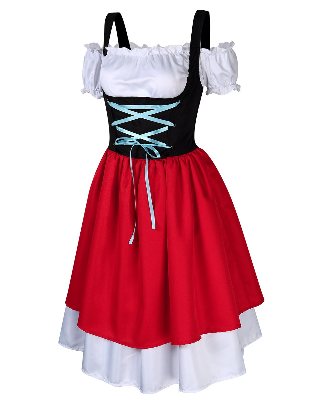 GloryStar Women's 3 Pcs German Dirndl Serving Wench Bavarian Oktoberfest Adult Costumes (S, Red/Green) by GloryStar (Image #4)