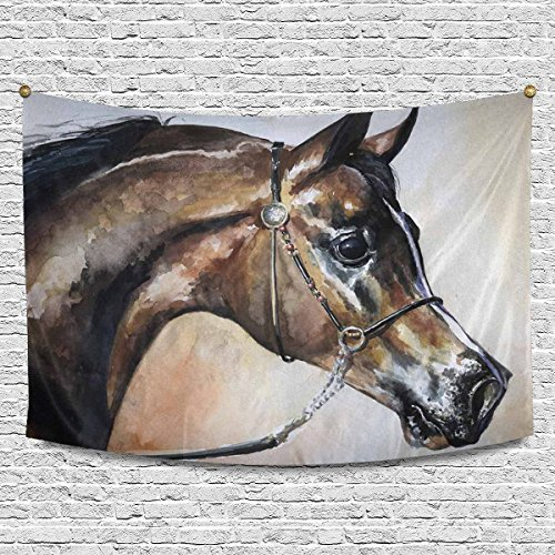 Arabian Horse Paintings - INTERESTPRINT Arabian Horse Watercolor Painting Tapestry Wall Hanging Hippy Tapestries Beach Throw College Dorm Decor, 90W X 60L Inch