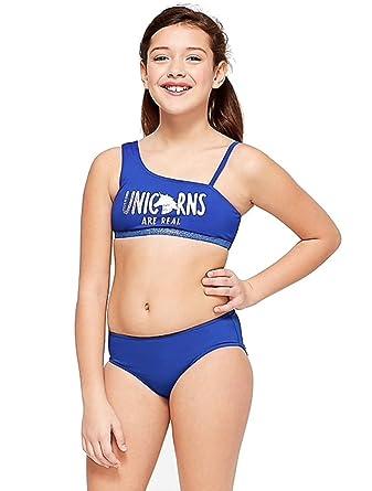 943ada122 Amazon.com: Justice Swim One-Shoulder Bikini Unicorn Reversible ...