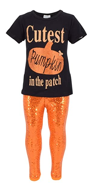 6bc75e439e62 Amazon.com: Unique Baby Girls 2 Piece Cutest Pumpkin in The Patch Halloween  Outfit: Clothing