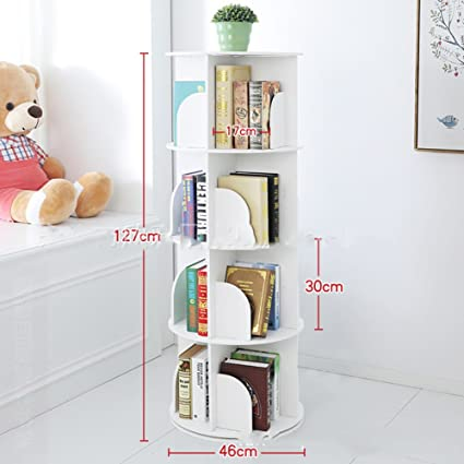 JX&BOOS Bookshelf,Creative 360°Rotating Bookcase Simple disassembly  Bookshelves Simple Student Landing Rack -White 46x46x127cm(18x18x50)