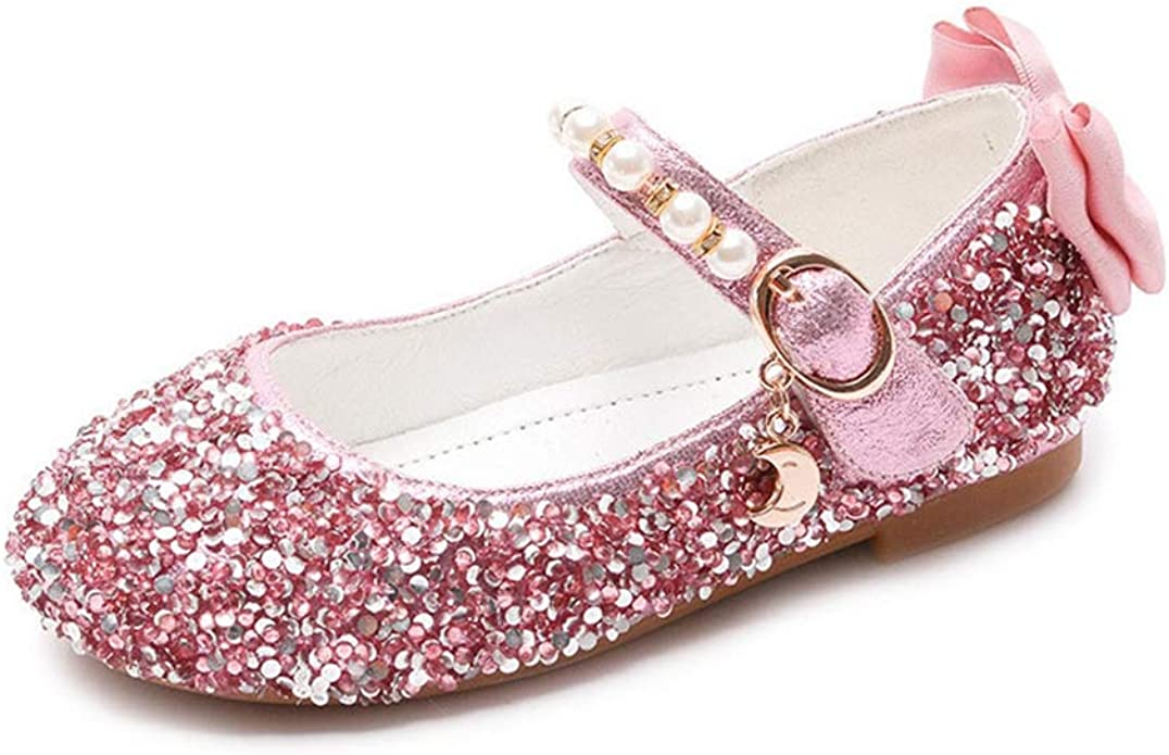 F-OXMY Girls Comfort Lightweight Ballerina Ballet Flat Shoes Bowknot Sequins Mary Jane Dress Shoes