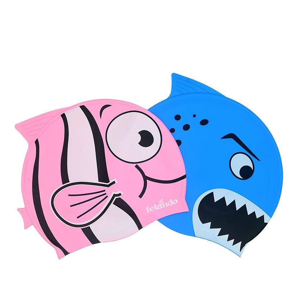 Felando Swimming Cap Fun Design Silicone Swim Cap for Kids - Cartoon Shark Pattern Pack of 2 (Blue+Pink)