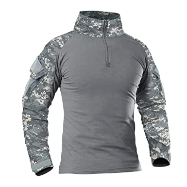 e9d821bb3898 CRYSULLY Men's Tactical Military Uniforms Long Sleeve Slim Fit Python Camo  Shirt with Zipper Army Combat. Roll over image to ...