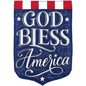 Bandera de jardín Carson Applique – Dios Bless América
