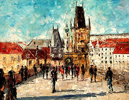 """""""Crossing Charles Bridge In Prague"""" – Limited Edition 10/100, Signed and Numbered Print on Canvas Hand Embellished by the Artist."""
