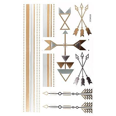 Chic-net tatuaje Golden plateado temporal arco diseño adhesiva ...