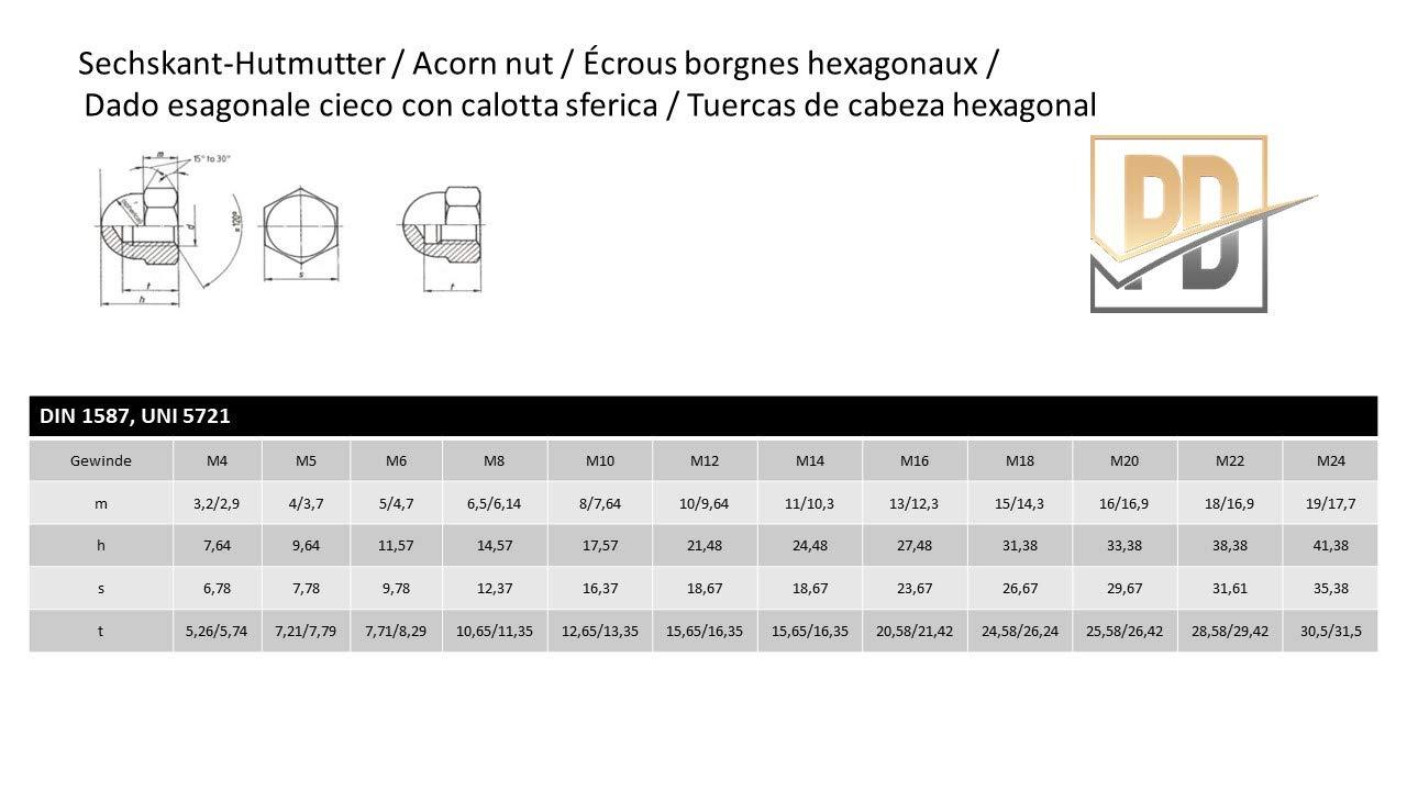 materiale ottone Dadi in ottone DIN 1587 ottone lucido, 50 pezzi M6 dado di protezione in ottone